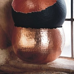 Hammered Bowl planter, H21 x W30 x D30cm, copper