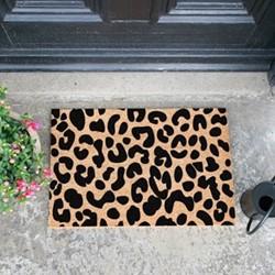 Leopard Print Doormat, L60 x W40 x D1.5cm, natural/black