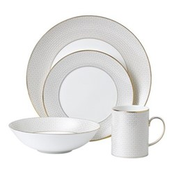 Arris 4 piece dinnerware set, white