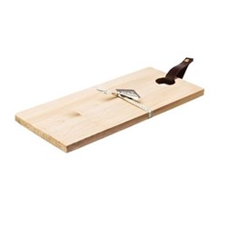 Medium curved sycamore serving board with leather tab, L35 x W25 x H2cm, sycamore