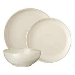 Linen 12 piece coupe tableware set, cream