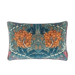 Honeysuckle & Tulip Velvet Cushion, W40 x 60cm, green