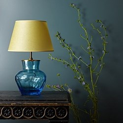Fandango Table lamp - base only, H33 x W21cm, blue clear blown glass