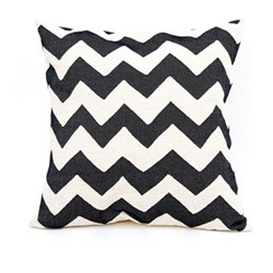 Chevy Cushion, 60cm, black/linen