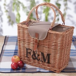 Wicker Hamper with rug, H49 x W40 x D19cm (Rug: L130 x W145cm)