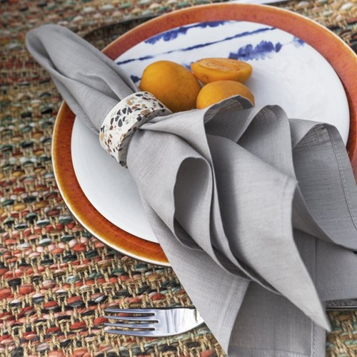 Set of 4 napkin rings, Dia5cm, terrazzo