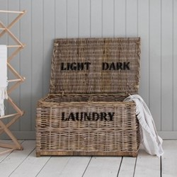 Light and dark laundry chest, 42 x 79 x 48cm, rattan