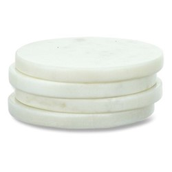 Esa Set of 4 marble coasters, Dia11cm, white