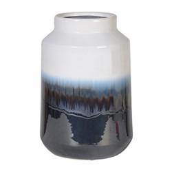 Small jar, H31 x Dia20cm, white/blue