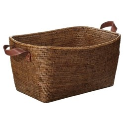 Fairfax Large basket, L54 x W40 x H25cm, rattan with leather handles