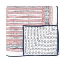 Spots & Stripes Throw, L225 x W225cm, Red Blue