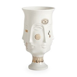 Gilded Muse Dora maar urn, Dia20.32 x H38.1cm, white/metallic gold