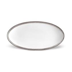 Corde Large oval platter, 53 x 30cm, platinum