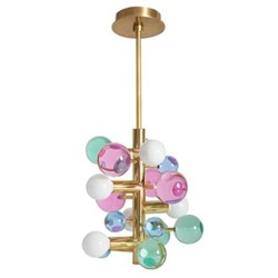 Globo 5-light chandelier, W39.37 x D39.37 x H43.18cm, multi/brass