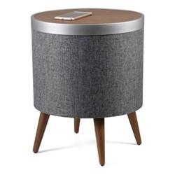Zain Smart charging side table, H50.5 x W41 x D41cm, walnut and dark grey