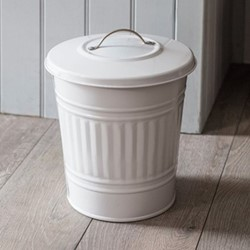 Mini bin, 10.5 litre - H33 x D25cm, chalk colour powder coated galvanised steel with nickel handle