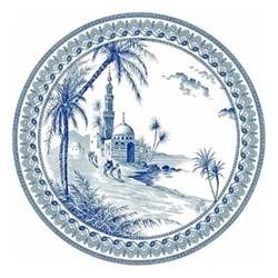 Les Dépareillées Bleu Orient Coaster, Dia13cm, white/blue