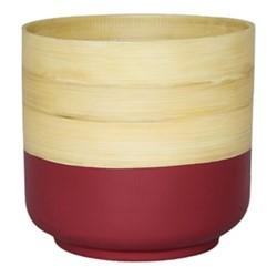 Bamboo Planter, H20 x W28 x D28cm, pink