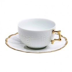 Corail Gold Set of 6 teacups and saucers, 18cl