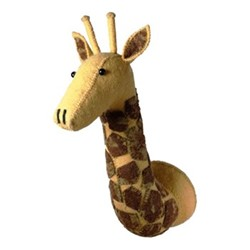 Decorative Plaques Wall mounted giraffe head, H65 x W20 x D28cm, yellow and brown felt