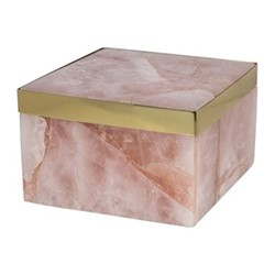 Quartz trinket box, H6.5 x D10cm, pink