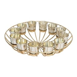 Circular Wire Candle stand with 12 votives, H11 x Dia41cm, gold