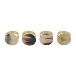 Set of 4 napkin rings, Dia5cm, buffalo horn