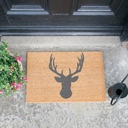 Stags Head Doormat, L60 x W40 x H1.5cm, grey