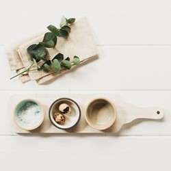 Perfect Pastels Bowl & paddle set, stoneware/mango wood