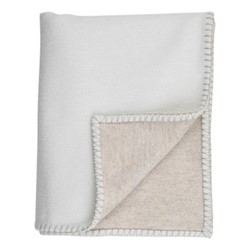 Blanket Stitched Merino blend throw, 190 x 140cm, ecru/driftwood