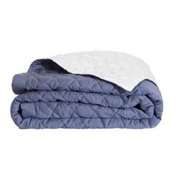 Montaigne Bed cover, L240 x W260cm, slate blue / platinum
