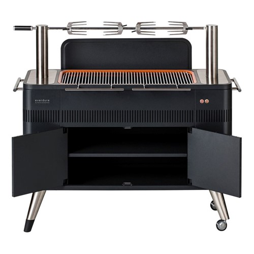 Hub Electric ignition charcoal barbeque, H90 x D49 x D137cm, graphite and orange