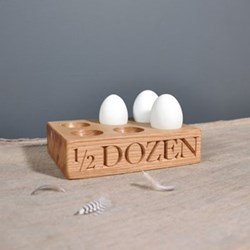 1/2 Dozen 6 egg rack, 17.5 x 12.5 x 4.5cm, oak