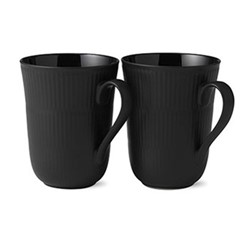 Black Fluted Pair of mugs