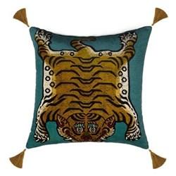 Saber Large velvet cushion, 60 x 60cm, teal