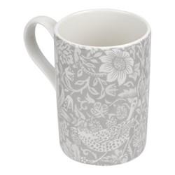 Pure Morris - Strawberry Thief Set of 4 mugs, 34cl, grey/white
