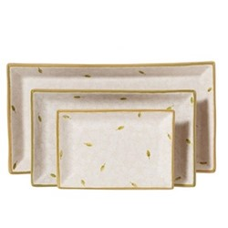 Lawn Nest of 3 rectangular serving dishes, Largest - L31.5 x W17cm, white