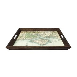 Small personlised drinks tray, L43 x W33cm, dark stained oak