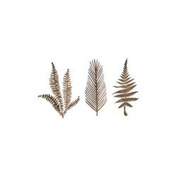 Kiko Set of 3 small foliage artwork, 15 x 6cm, matt brass