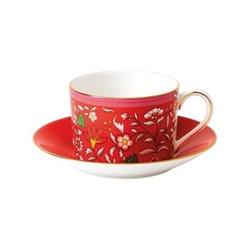 Wonderlust - Jewel Teacup and saucer, 15cl, crimson