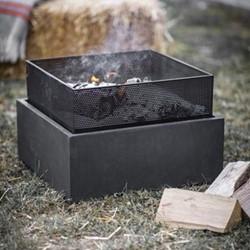 Lyneham Square fire pit, H38 x W55 x D55cm, black