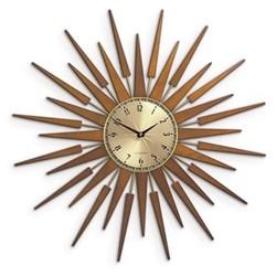 Pluto Wall clock, 65 x 65 x 4cm, Spun brass lattice wood