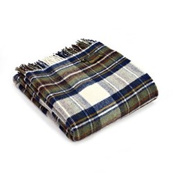 Traditional Tartan Throw, 150 x 183m, muted blue check