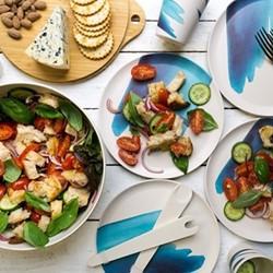 Blue Wave Outdoor dinnerware set, bamboo