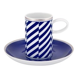 Harvard Coffee cup and saucer, D13 x H7.5cm, blue