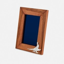 """The Highland Safari Collection - Pheasant Portrait photo frame, 8 x 6"""", Rhodesian teak and silver plated brass"""