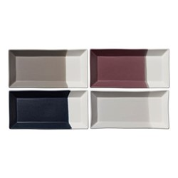 Coffee Studio Set of 4 small rectangular trays, L23.5 x W11.5cm, multi