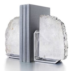 Fim Bookends, 5 x 16 x 12cm, crystal silver