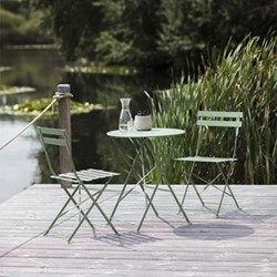 Rive Droite Garden table and 2 chair set, small, greengage steel