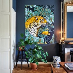 Graphic - Tiger Jungle & Toucan Family Wall decoration, 120 x 160cm